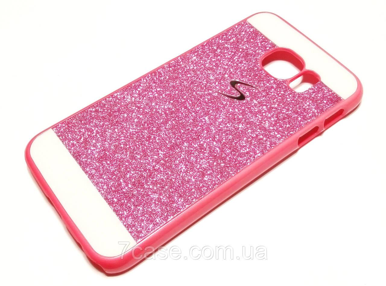 Чехол для Samsung Galaxy S6 G920 пластиковый с блестками розовый