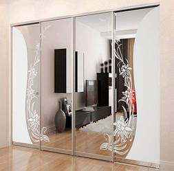 Раздвижная система | Межкомнатные перегородки | Дверь зеркало/стекло пескоструй