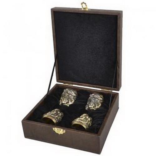 """Набір ручної роботи """"Козак"""" (4 чарки х 30мл), бронза, в подарунковому кейсі"""