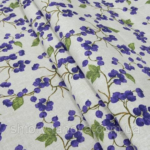 Декоративная ткань для штор, веточка смородины фиолетовый