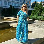 Бирюзовое платье в пол для полной молодежи пл-192 шелк-хлопок , 48,50,52,54, фото 8