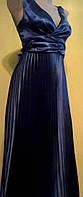 Вечерний сарафан гофре в стиле ампир темно-синий атлас