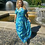 Бирюзовое платье в пол для полной молодежи пл-192 шелк-хлопок , 48,50,52,54, фото 6