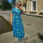 Бирюзовое платье в пол для полной молодежи пл-192 шелк-хлопок , 48,50,52,54, фото 4