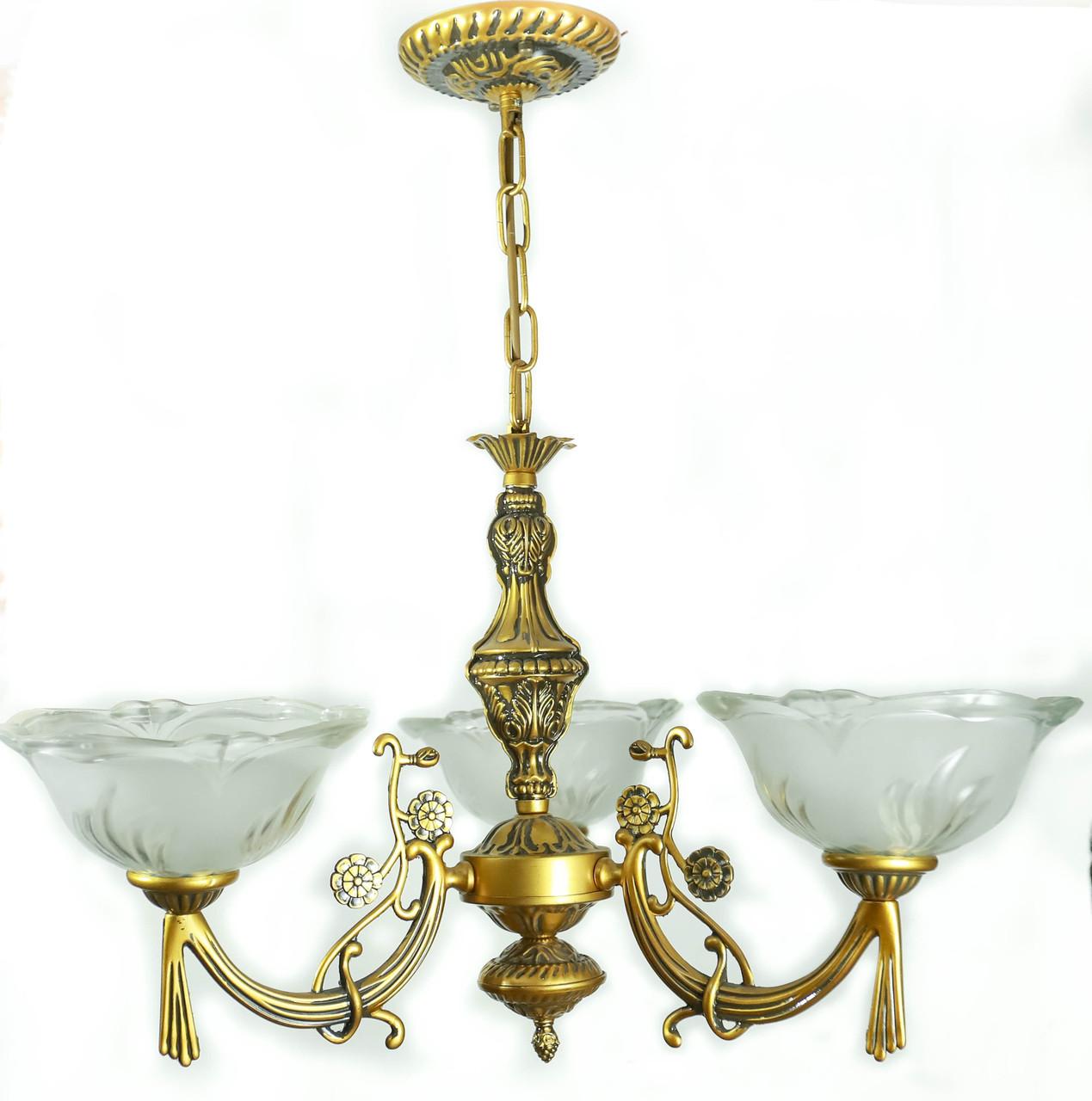 Люстра на 3 плафони, Панська класика, старовинна світла бронза