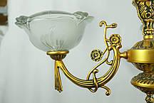 Люстра на 3 плафони, Панська класика, старовинна світла бронза, фото 2