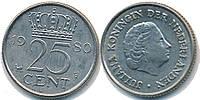 Голландия 25 центов 1980 г.