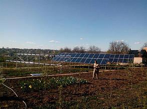 процесс монтажа солнечных панелей на наземной системе креплений
