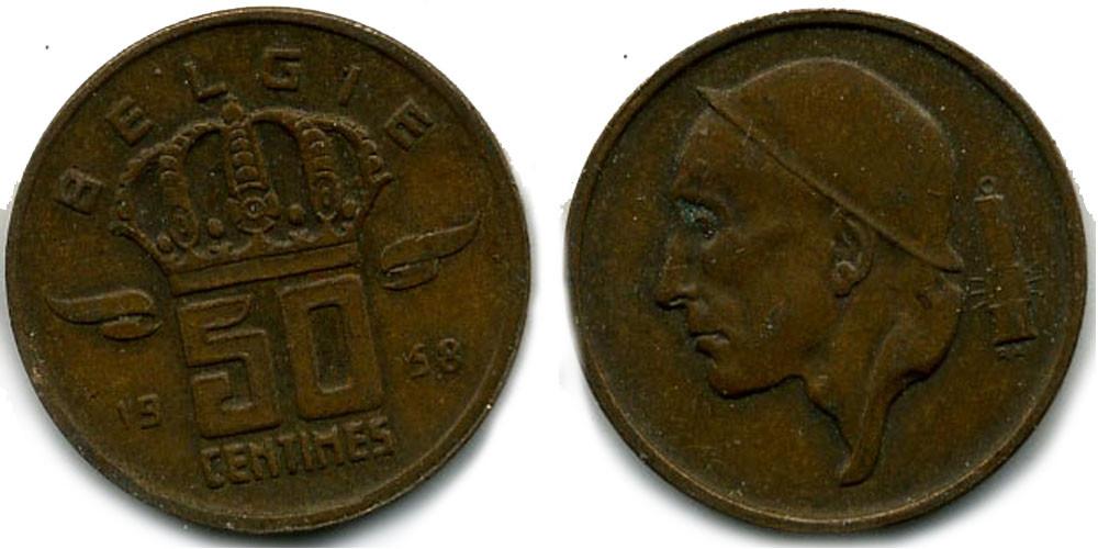 Бельгия 50 сантимов 1974г.