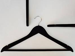 Плечики деревянные флокированные черного цвета, длина 44см