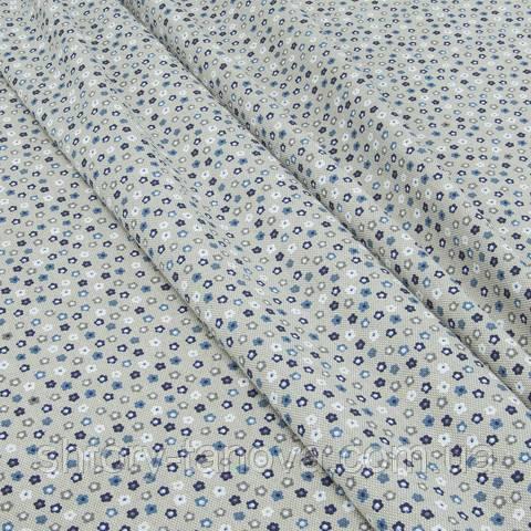 Декоративная ткань для штор, мелкие цветочки, синий
