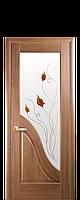 Межкомнатная дверь  Амата ПВХ DeLuxe со стеклом сатин и цветным рисунком, цвет золотая ольха