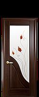 Межкомнатные двери Новый Стиль Амата ПВХ DeLuxe со стеклом сатин и цветным рисунком, цвет Каштан