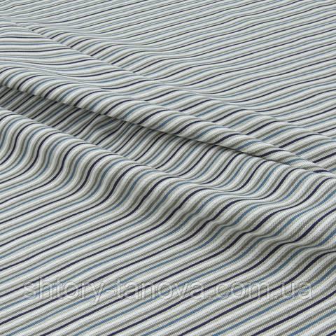 Декоративная ткань для штор, полосы серо-синий
