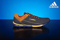 Мужские кожаные кроссовки Adidas Синие\Рыжие 39_sin_rizh, фото 1