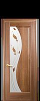 Межкомнатная дверь  Эскада  ПВХ DeLuxe со стеклом сатин и цветным рисунком, цвет золотая ольха