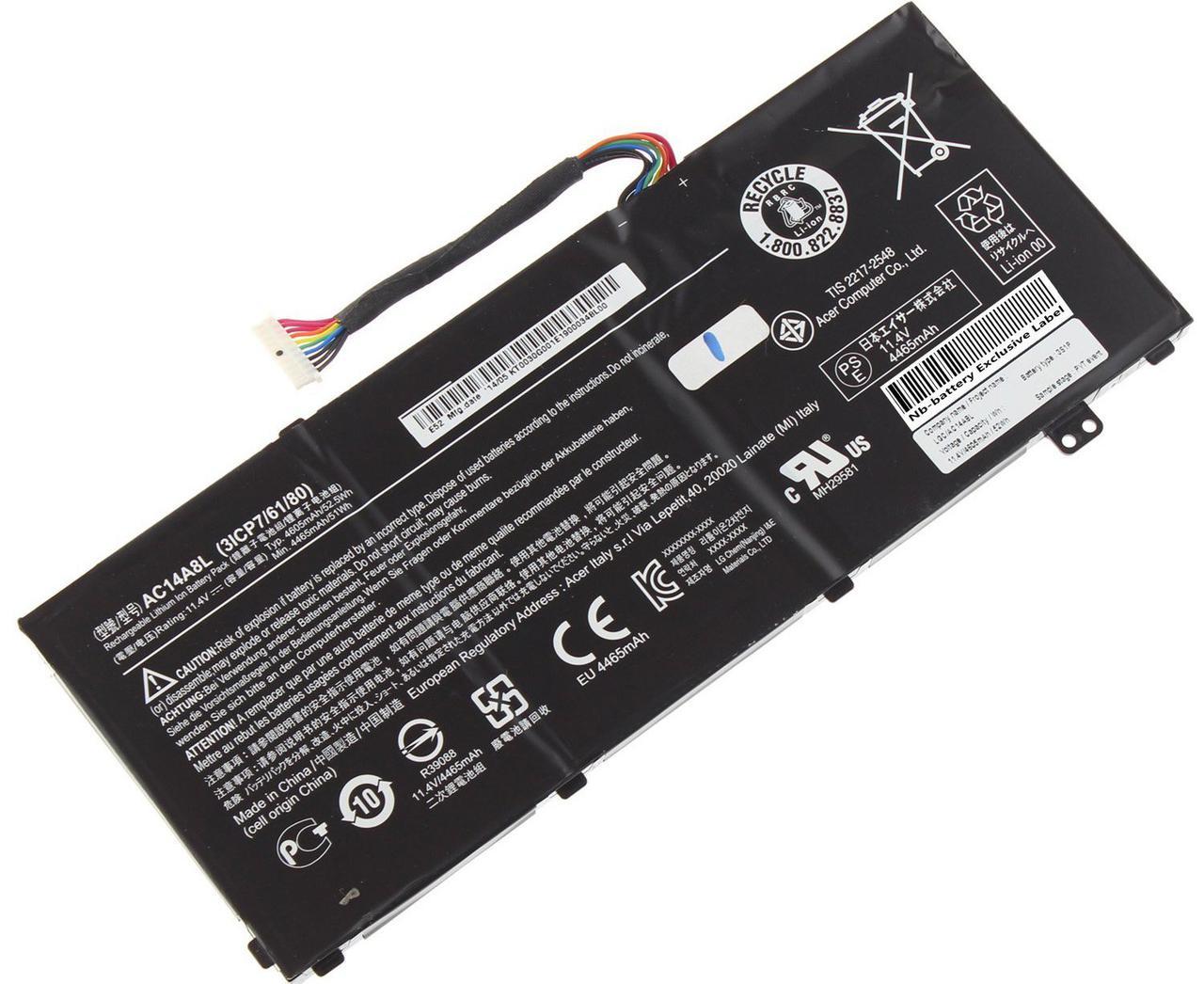Аккумулятор Acer AC14A8L 11.4V 4465mAh 51Wh V15 Nitro Aspire VN7-571 V