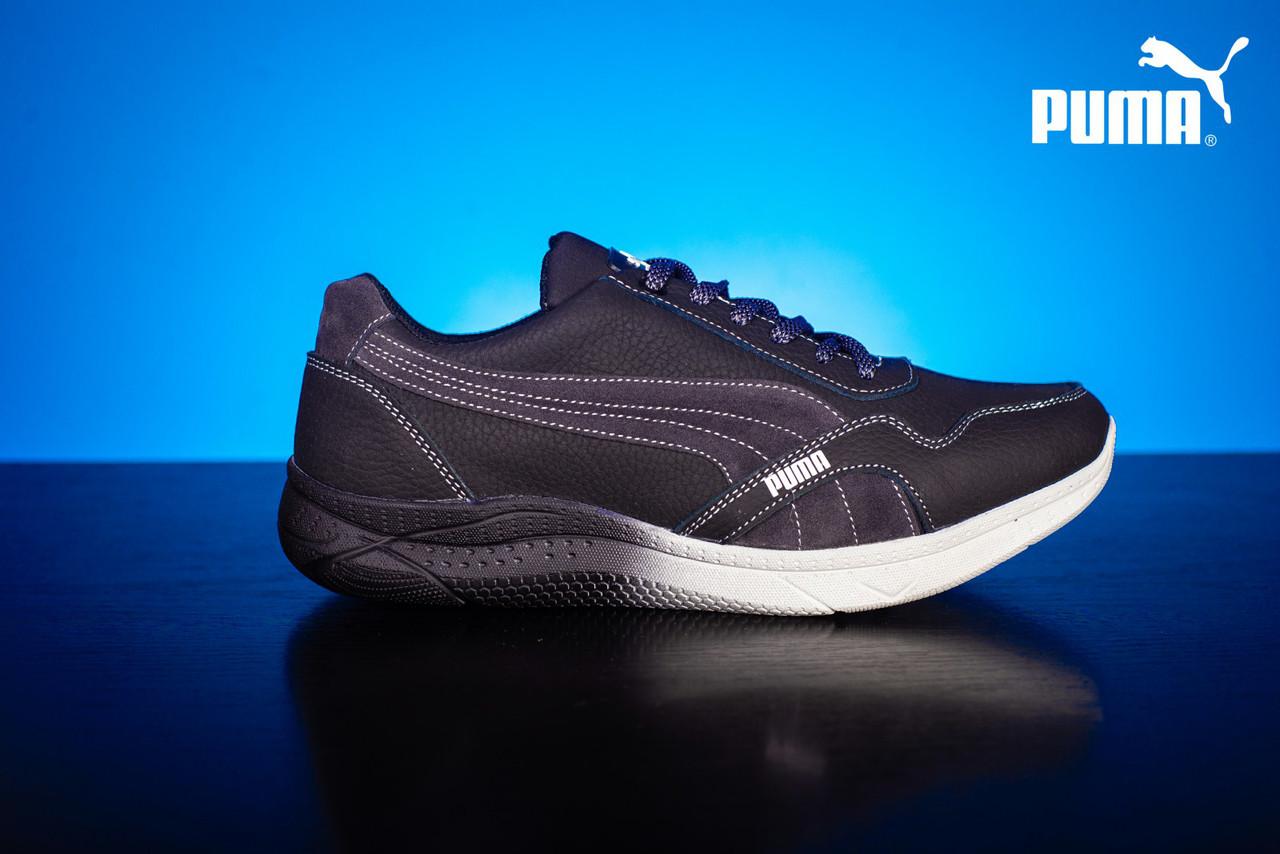 Мужские кожаные кроссовки Puma Черный/Серый 51_chern