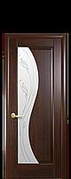 Межкомнатная дверь  Эскада ПВХ DeLuxe со стеклом сатин и матовым рисунком, цвет каштан