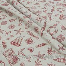 Декоративная ткань для штор, морская тематика красный