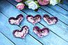 "Апликация ""Сердце паетка розовый + золото"",  х  см, 25 шт/уп. VIP"