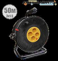Удлинитель на катушке с термозащитой 4 места (2Р+PЕ/50м 3х1,5мм2) IEK УК50