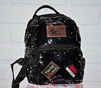 Черный женский рюкзак, двусторонние пайетки, с нашивками