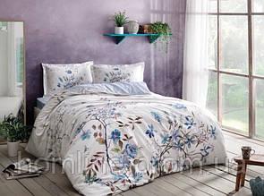 Постельное белье Tac сатин Lindy mavi v02 голубое двухспального евро размера