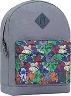 Рюкзак городской Bagland серый с карманом сублимация разноцветные цветы