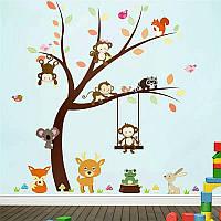 Наклейка на стену, виниловые наклейки в детскую (осеннее дерево и звери) 100*97см (лист60*90см)