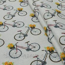 Декоративная ткань для штор, велосипеды мультиколор
