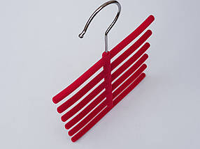 Плечики вешалки тремпеля ежик флокированный розового цвета, фото 3