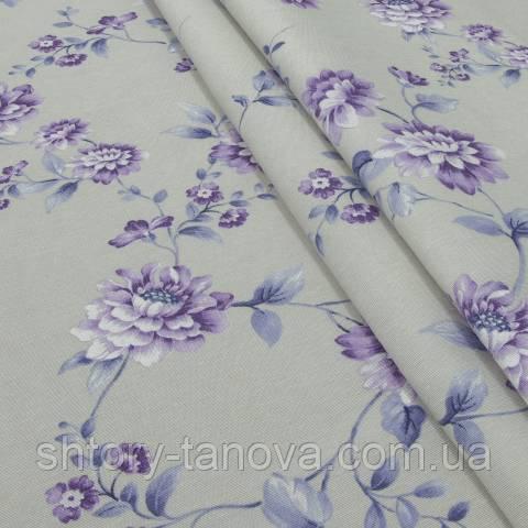 Декоративная ткань для штор, цветы фиолетовый