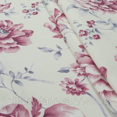 Декоративная ткань для штор, цветы молочно-розовый