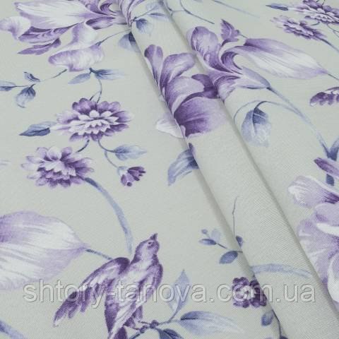Декоративная ткань для штор, крупные цветы фиолетовый