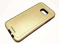 Чехол противоударный для Samsung Galaxy S7 Edge G935 накладка Motomo Sport (Stripes) золотой, фото 1