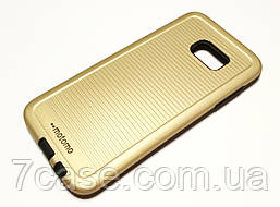 Чехол противоударный для Samsung Galaxy S7 Edge G935 накладка Motomo Sport (Stripes) золотой