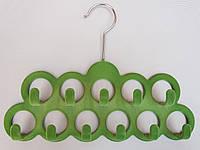 Плечики вешалки тремпеля флокированные салатового цвета для аксессуаров