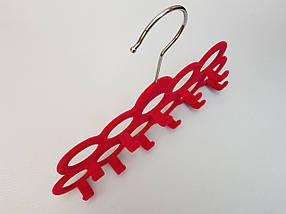 Плечики вешалки тремпеля флокированные розового цвета для аксессуаров, фото 3
