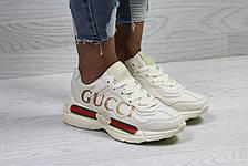 Модные женские кроссовки Gucci,светло бежевые 38р, фото 3