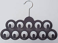 Плечики вешалки тремпеля флокированные серого цвета для аксессуаров