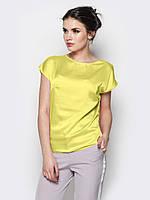 Яркая летняя шелковая блуза с разрезом на спинке р.48