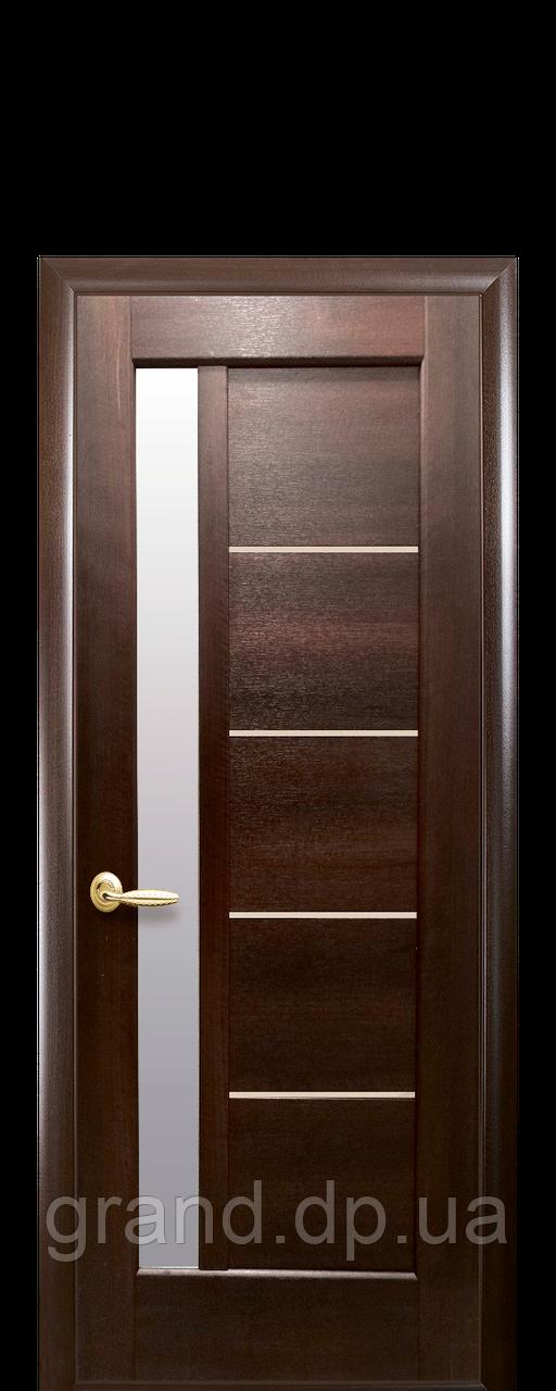 Межкомнатные двери Новый Стиль Грета ПВХ DeLuxe с стеклом сатин, цвет Каштан