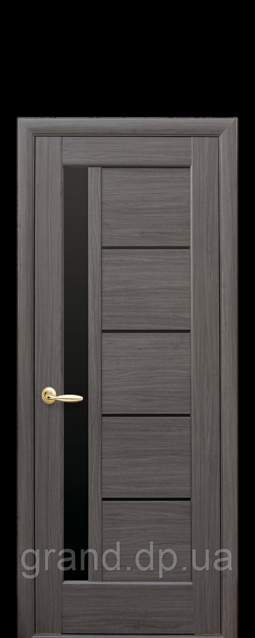 Межкомнатная дверь  Грета ПВХ DeLuxe с черным стеклом,цвет grey new