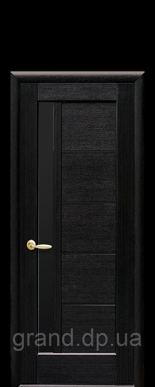 Межкомнатная дверь  Грета ПВХ DeLuxe с черным стеклом,цвет венге new