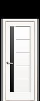 Межкомнатная дверь  Грета ПВХ DeLuxe с черным стеклом,цвет белый матовый