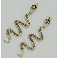 Серьги золотая змейка с золотыми камнями