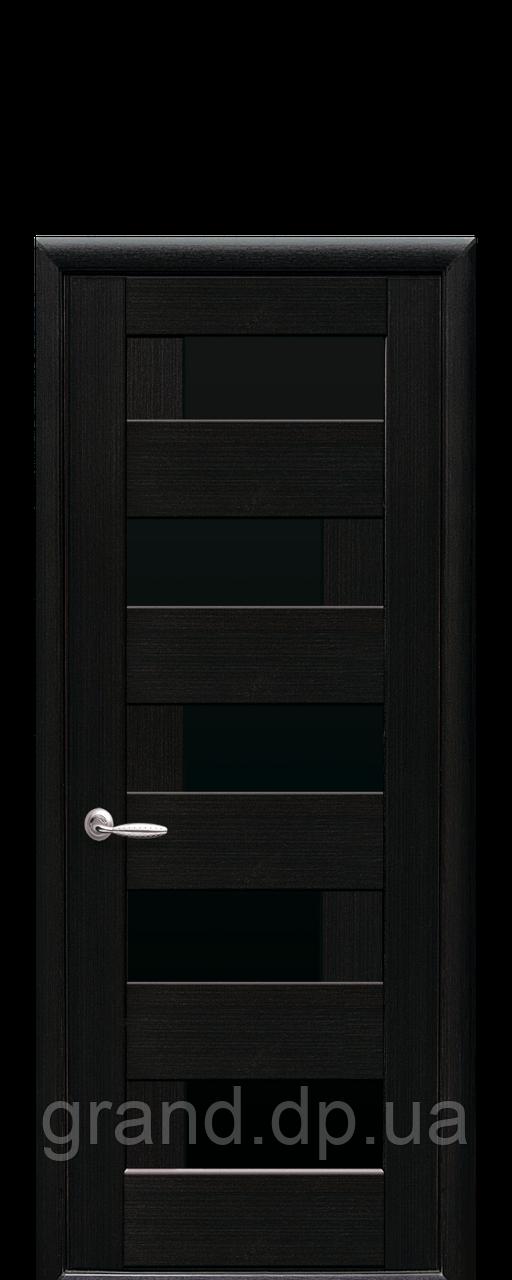 Межкомнатная дверь  Пиана ПВХ DeLuxe с черным стеклом ,цвет венге