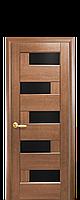 Межкомнатная дверь  Пиана ПВХ DeLuxe с черным стеклом ,цвет золотая ольха