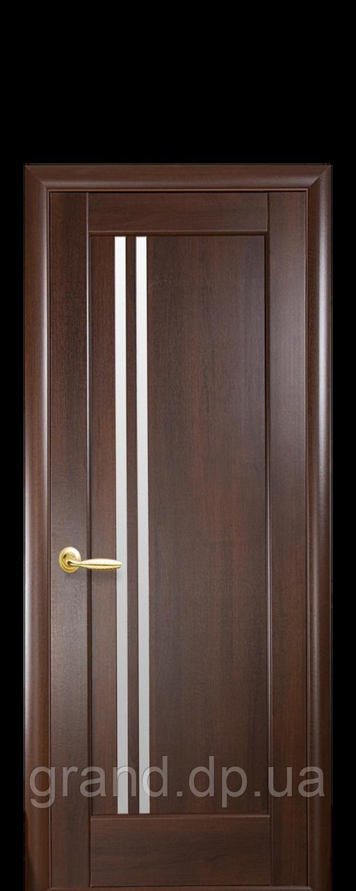 Межкомнатная дверь  Делла ПВХ DeLuxe со стеклом сатин,цвет каштан